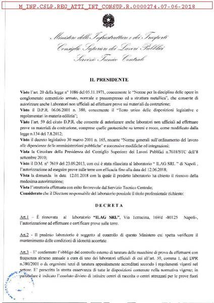Rinnovato il decreto di autorizzazione ministeriale alla ILAG per altri 5 anni